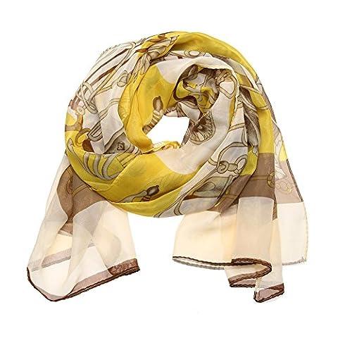 La Cabina Femme Vintage Foulard Long Châle Écharpe Cache Col en Soie + Mousseline Motif pour tout saison