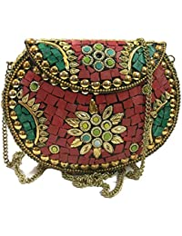 Women Metal Purse,Metal Bags, Mosaic Clutch,Ethnic Wallet, Sling Bags,Ethnic Clutches,cross Body Bags,Bridal Bags...
