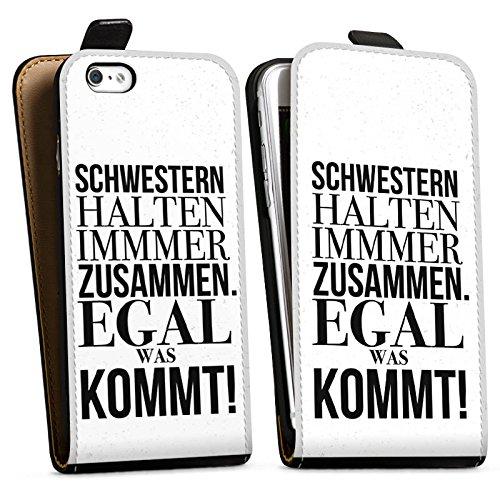 Apple iPhone X Silikon Hülle Case Schutzhülle Sprüche schwester Mädchen Downflip Tasche schwarz