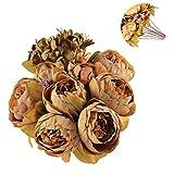 Luyue Vintage Pfingstrosen, künstlich, Seide, Blumen-Bouquet, Hochzeitsdekoration coffee