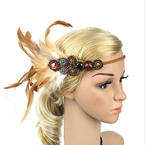 aukmla Feder Strassbesatz Fascinator Haarband Vintage 1940er Flapper für Stage Performance und Kostüm (Up Make Flapper Kostüme)