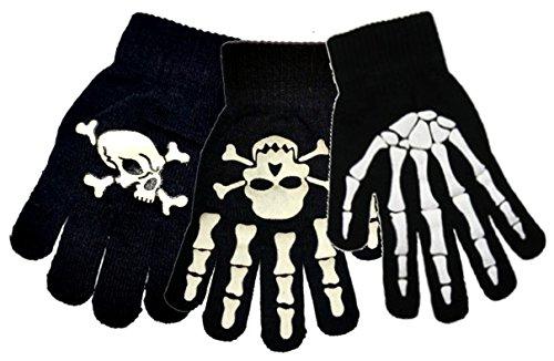 Pour fille et garçon Magic Gants et moufles Collection modèles différents-Taille unique Noir - Skull & Crossbone