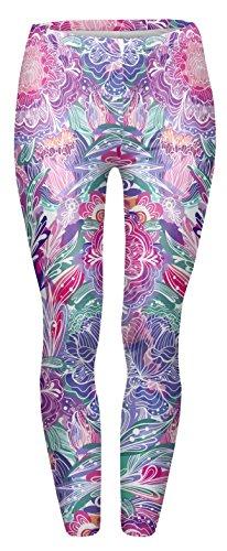 Kukubird Gedruckte Muster Frauen Yoga Leggings Gym Fitness Running Pilates Strumpfhose Skinny Pants 8 bis 12 Stretchable Exotic Purple Flowers