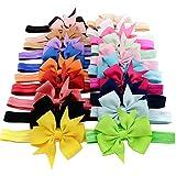 iEFiEL 20pcs Infant Baby Girls Elastic Grosgrain Ribbon Bowknot Hair Bow Headband Princess Hairband