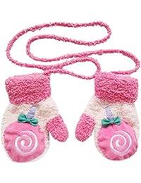 cosanter Niños Baby Guantes Manoplas de peluche Schön Niños niña niño hojas de invierno cálidos guantes rosa Rose