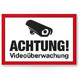Achtung Videoüberwachung Schild - Abschreckung Diebstahl, Hinweisschild für Innen und Außen, Warnhinweis Videoüberwacht für Einbruchschutz, Hinweis zur Prävention von Einbrüchen - Abschreckung