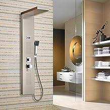 Auralum® Pannello doccia ultrapiatto Docce a cascata doccia Sistema doccia set asta doccia design cromato (Pioggia In Testa La Doccia Pannello)