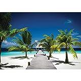 Vlies Fototapete 350x245 cm PREMIUM PLUS Wand Foto Tapete Wand Bild Vliestapete - Meer Tapete Palme Strand Steg Himmel blau Natur blau - no. 1132