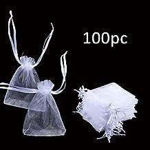 Foonii Bolsas de Organza de Joyas para Bodas Bolsas de dulces, 100 Piezas blanca