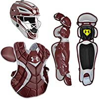 Under Armour paquetes de receptor de béisbol profesional de adultos casco w/con 2, Granate