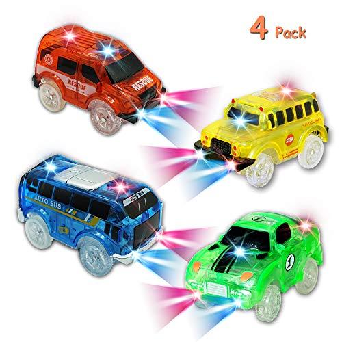 KaliningEU Rennauto mit LED Licht, Leuchtend Rennwagen Rettungswagen Autobus Schulbus Spielzeug Auto Kompatibel mit Autorennbahn Twister Tracks, Magic Auto für Kinder Junge Mädchen, 4-Pack