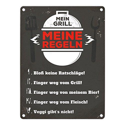 alltoshop Meine Grillregeln Blechschild in 15x20 cm - Meine Grillregeln Metallschild Reklameschild Grillen Dekoschild