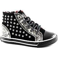 PRIMIGI 63090 nero farfalle borchie scarpe bambina sneaker mid zip laterale