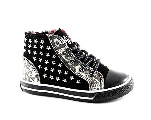 PRIMIGI 63090 schwarze Schmetterlinge Stollen Kind Sneaker Mitte seitliche Reißverschluss Schuhe Nero
