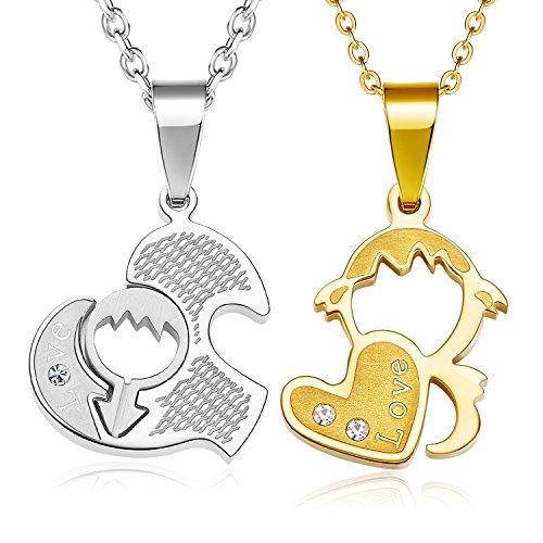 Zolure acero inoxidable rompecabezas collar colgante Amor bebé para pareja y padres, plata y oro