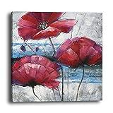 wowdecor Art Wand Moderne Leinwand Prints Gemälde–Rot Poppy Blumen Giclée-Bilder auf Leinwand gedruckt, Wanddekoration für Home Wohnzimmer Schlafzimmer–DIY Rahmen, B, Large