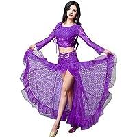 YiJee Mujer Encaje Ropa del Danza del Vientre del rendimiento Set Tops y Falda
