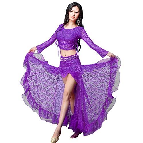 YiJee Damen Spitze Tanzkleidung Bauchtanz Kostüm Set Tops und Rock Lila L