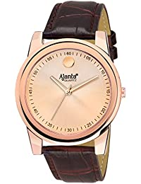Ajanta's Rose Gold Dial With Leather Strap Analog Wrist Watch For Men AQ-041-RB