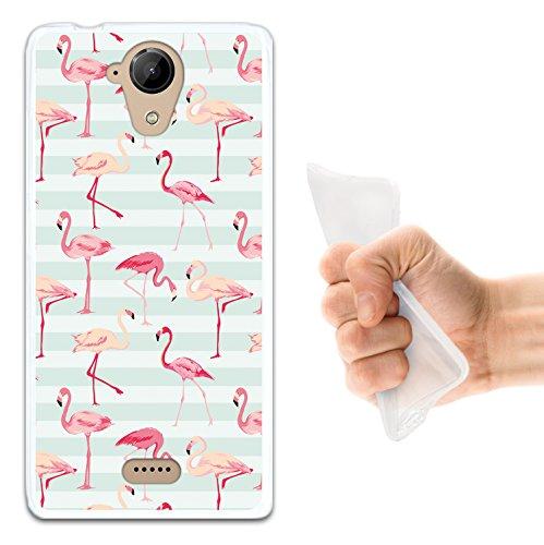 WoowCase Wiko U Feel Lite Hülle, Handyhülle Silikon für [ Wiko U Feel Lite ] Retro Flamingo Handytasche Handy Cover Case Schutzhülle Flexible TPU - Transparent