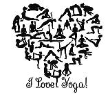Wandsticker I Love Yoga Zitat Turnerin Vinyl Sticker Herz Aufkleber Gym Decor Home Interior Design Art Wandmalereien mn330