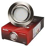 3er Set LED Möbeleinbauleuchte Malo IP44 3Watt, Edelstahl gebürstet, Lichtfarbe Warmweiß, 3000 Kelvin, 12V Anschluß, Einbautiefe 22mm, fertig montiert mit AMP Stecker inklusive LED Trafo 20 Watt IP20