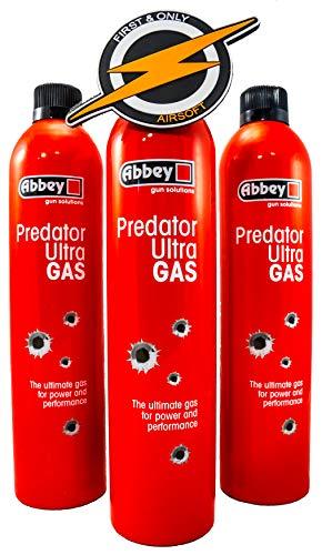 Primero y Solo Airsoft 3 Botella Abbey Predator Ultra HI-Power Airsoft Green Gas 700ml y un Parche de PVC Propelente de Gas de Alta Potencia para Usar en Rifles y Pistolas BB 6mm de Metal