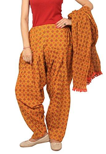 Rama Orange colour abstract print patiala dupatta set.
