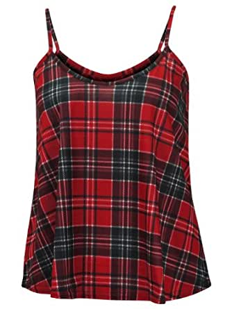 (MN) WOMENS RED GREY TARTAN CHECK STRIPE PRINT LADIES STRAPPY CAMISOLE CAMI VEST TOP | RED/GRY - Tartan stripe print cami vest | SM 8/10