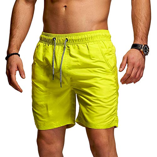 behype. Herren Bade-Shorts Kurze Hose Swim-Shorts Bade-Hose Strand Beach-Wear 80-1201 Green (Neon) L -