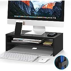 1home Moniteur Stand Lever PC Ecran/Ordinateur en Bois Noir L420 XP 235 x H142mm