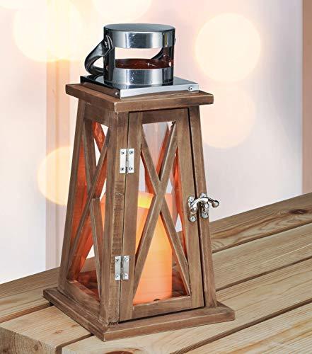 Kamaca XL – Farol LED con puerta de madera, cristal y metal, marrón, Holzlaterne 30 x 15 x 15 cm