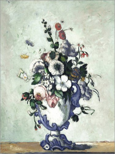 Posterlounge Holzbild 100 x 130 cm: Blumen in Einer Rokoko Vase von Paul Cézanne/Everett Collection