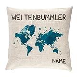 Herz & Heim® Weltenbummler Kissen in Leinen Optik mit Namensaufdruck
