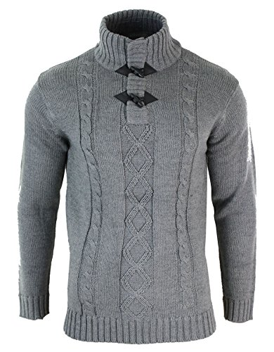 Pull sweat homme col haut tricot épais couleurs hivernales style décontracté douillet Gris