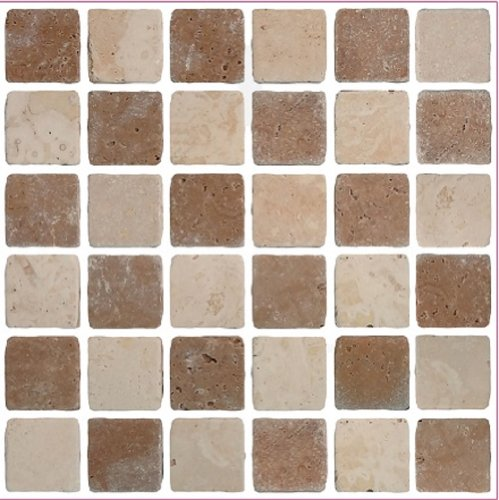 Pack of 10 brown travertine stone effect Mosaic tile transfers stickers bathroom kitchen peel and stick on wall tile size 6x6