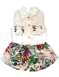 SMARTLADY Niñas Camisa sin Mangas y Pantalones Cortos Florales