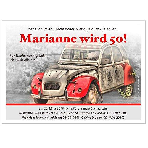 Einladungskarten zum Geburtstag Erwachsene, Mann Frau - für jedes Alter Wunschalter 30 40 50, 70 Karten - 2 Größen zur Auswahl