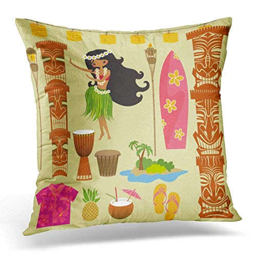 nbezüge Luau Hawaii Symbols and Including Hula Dancer Tiki Gods Totem Pole Drums Torches Hawaiian Party Decorative Pillow Case Home Decor Square 18x18 Inches Pillowcase ()