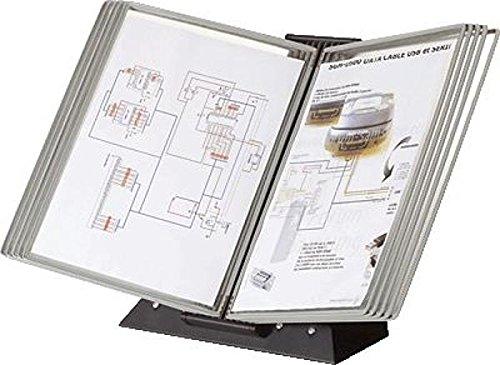 Tischständer Black aus Metall mit 10 Sichttafeln A4 grau
