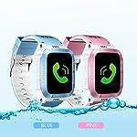 AngelaKerry kinder Smart Uhr Sport Monitor GPS Tracker Digitaluhr Babyphone Baby Telefon Handy (SIM-Karte ist nicht enthalten) New Version - Touch + Camera/Blau