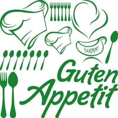 Preisvergleich Produktbild Wandtattoo Set Küche Spruch Schriftzug Guten Appetit mit Kochmütze (57x57cm//062 hellgrün)