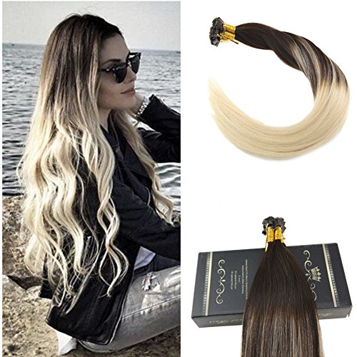 Ugeat 60cm flat tip remy human hair extensions #4/60 dark brown con bleach blonde ombre extension capelli veri cheratina biondi 1g/meche 50g/pacco