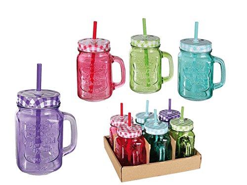 Pack de 6 verres rétro avec paille et couvercle - Colorés
