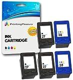 Printing Pleasure 5 Druckerpatronen für HP Officejet 4200, 4212, 4215, 4219, 6110 / PSC 1100, 1110, 1209, 1210, 1210V, 1210xi, 1215, 1216, 1310, 1312, 1315, 1317 / Deskjet 3320, 3325, 3420, 3535, 3538, 3550, 3645, 3650, 3740, 3744, 3745, 3840, 3845, 3848, 5150, 5160, 5650, 5652, 5850 / Fax 1240 | kompatibel zu HP 27 (C8727AE) & HP 28 (C8728AE)