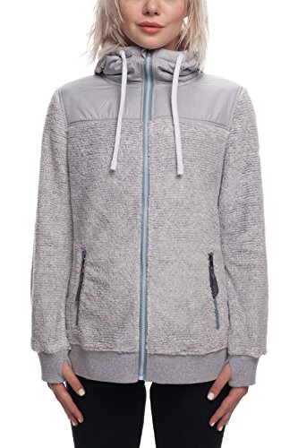 686 Women's Flo Polar Zip Fleece Hoody | Waterproof Zip-up Jacket | Light Grey - M -
