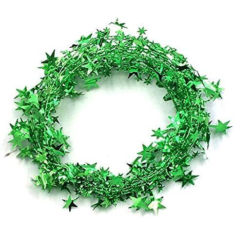 Vollter Albero di Natale appeso stella Pino Ghirlanda di Natale ornamento 5 colori 5m