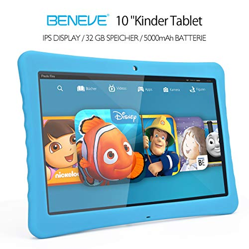 "BENEVE 10 Kinder Tablet, 10,1"" 1080P Full HD Display Android 7,0, 2GB + 32 GB, Dual-Kamera Front 2MP + Rear 5MP, Bluetooth und WiFi-Blau"