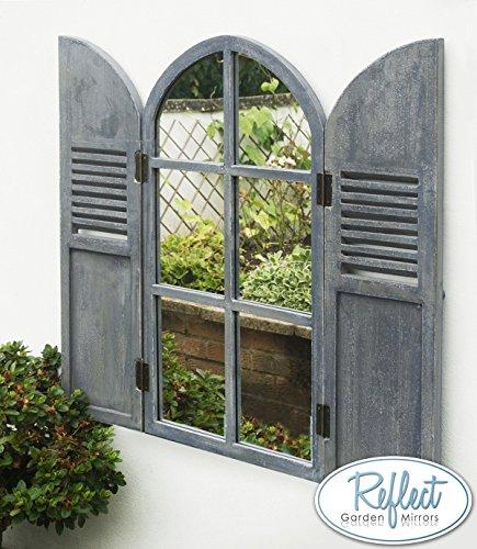 Reflect™ Gartenspiegel Aus Echtglas Mit Fensterläden, 85cm x 50cm