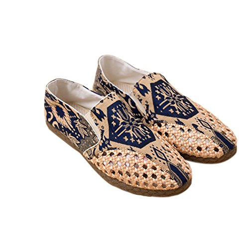Meijunter Summer Hommes Respirant Coton Slip-on Shoes Printed Hollow Chaussures Flats Des sandales Multicolore